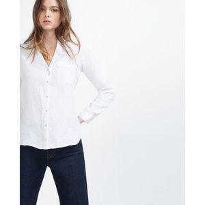 NWT ZARA WHITE BUTTON -UP LINEN SHIRT V Neck